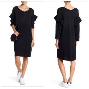 Current Elliott ruffle long sleeve black dress